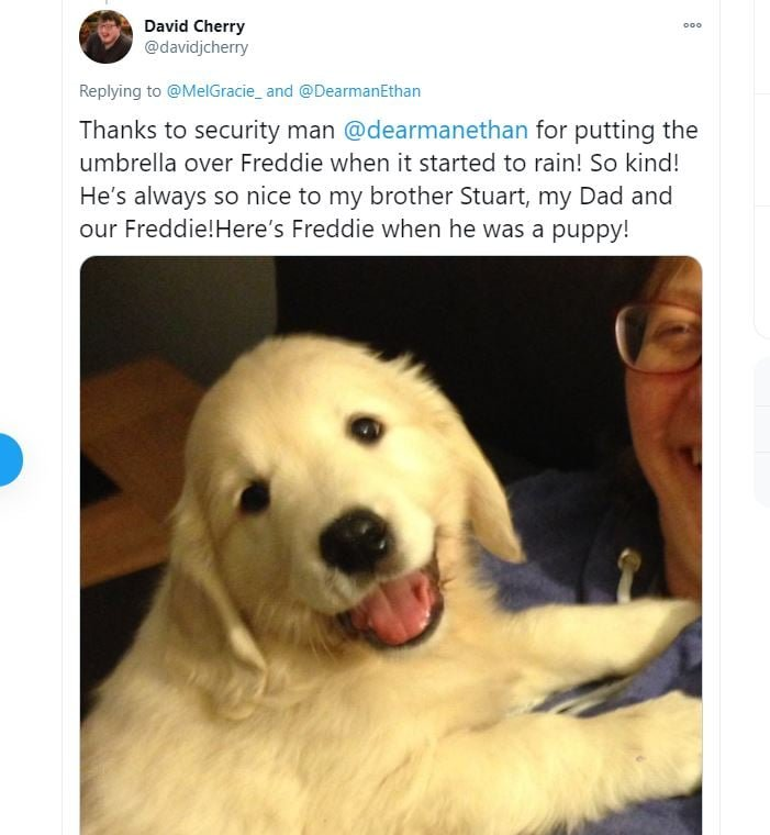 David Cherry đăng ảnh hồi nhỏ củaFreddie như một lời cảm ơn nhân viên an ninh tốt bụng đã giúp mình che chở cho chú chó.